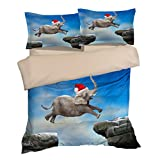 Amazing Jump Christmas Elephant Cotton Microfiber 3pc 104''x90'' Bedding Quilt Duvet Cover Sets 2 Pillow Cases King Size