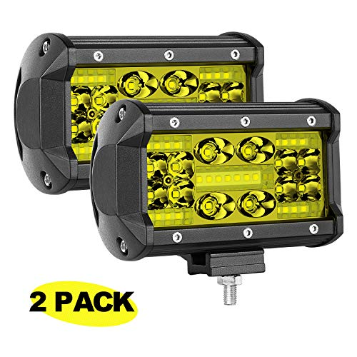 AKD Part Amber LED Pods 5 inch 140W Philips LED Cubes Offroad Work Lights Flood Spot Combo Light Bar Yellow Jeep Fog Lamp LED Truck Driving Lights For ATV UTV SUV Motorcycle Marine