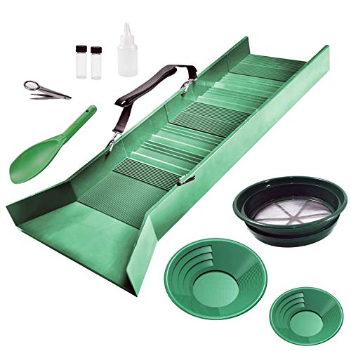 ASR Outdoor Deluxe Sluice Box Kit Gold Prospecting Tools Classifier Sifting Screen Dual Riffle Gold Pans Pick Up Snifter Bottle Glass Storage Vials Magnifying Tweezer Heavy Duty Sand Scoop 10 Pieces