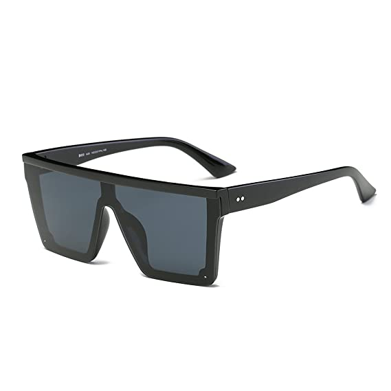 8739b6d5be6 Amazon.com  DONNA Cool Unisex Oversized Flat Top Sunglasses Square Aviator  Shades D89(Glossy Black)  Clothing