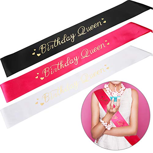 3 Pieces Birthday Queen Sash - Birthday Satin Sash with Gold Painting for Girls Women Birthday Party Supplies