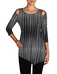 Nygard Women's Plus Size Slims Cold Shoulder Tunic BlkDotLines
