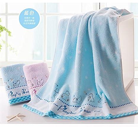 Mangeoo Adultos Niños de algodón puro con gruesas toallas bordadas de dibujos animados bebé oso pequeño y precioso bebé toalla verano 130x66cm,5346WH AZUL ...