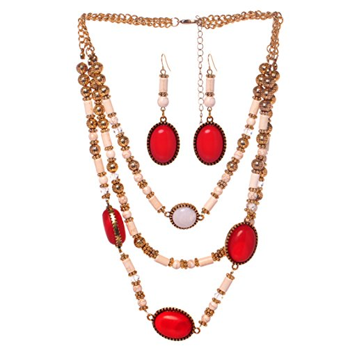 Snake Eyes Costumes Replica (Veenajo Ladies Gold Tone Retro Dramatic Multilayer Oval Beads Necklace and Dangle Earrings Jewelry Set(red))