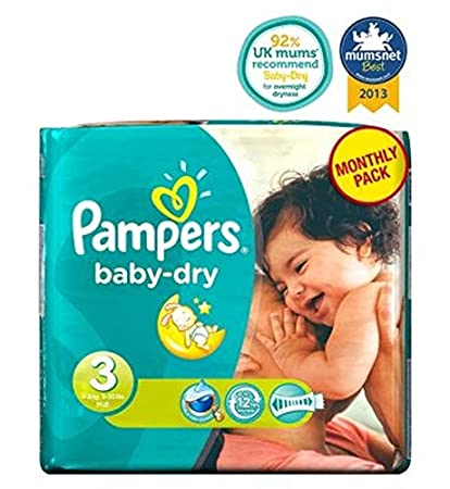 Pampers Baby-Dry Pañales Tamaño 3 Pack Mensual - 198 Pañales (Paquete de 6