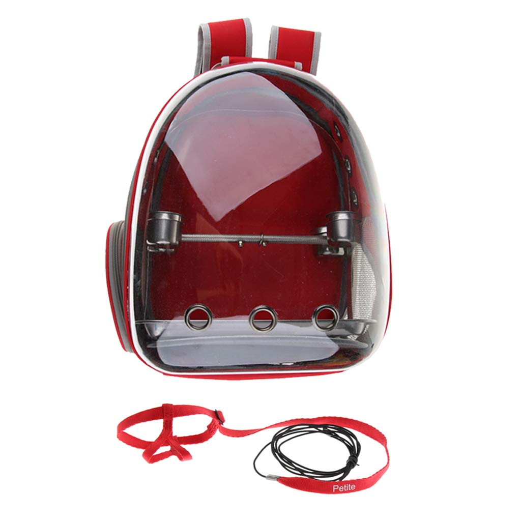 Fityle Bird Carrier Backpack Parred Bird Carrier Space Capsule Bubble with Perch, Feeder & Traction Strap
