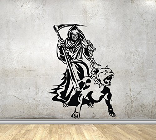 Grim Reaper With Dog Chain Scythe Creature Monster Vinyl Wall Decal Death Angel Horror Halloween Vinyl Stickers Decor MK2505