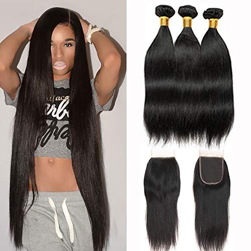 Kbeth Straight Bundles with Closure Free Part 10a Grade 100% Unprocessed Brazilian Virgin Human Hair Straight Bundles with Closure Natural Black Color Soft Hair for Black Women (20 22 24 + 18)