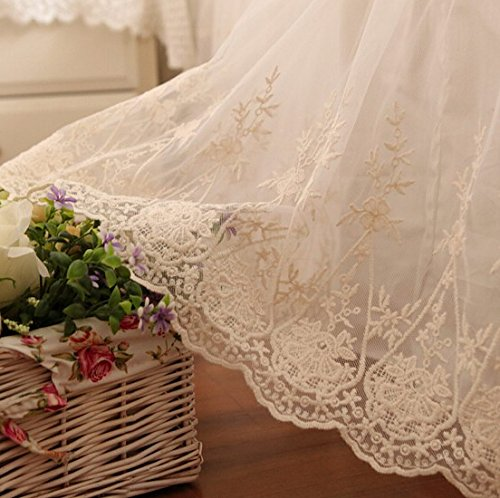 Brandream Luxury White Lace Bed Skirt Romantic Girls Bed Sheets Queen Size