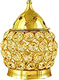 Decorate India Akhand Diya Decorative Brass Oval Shaped Crystal Oil Lamp Tea Light Holder Lantern, 4.5-inch(Gold and White)
