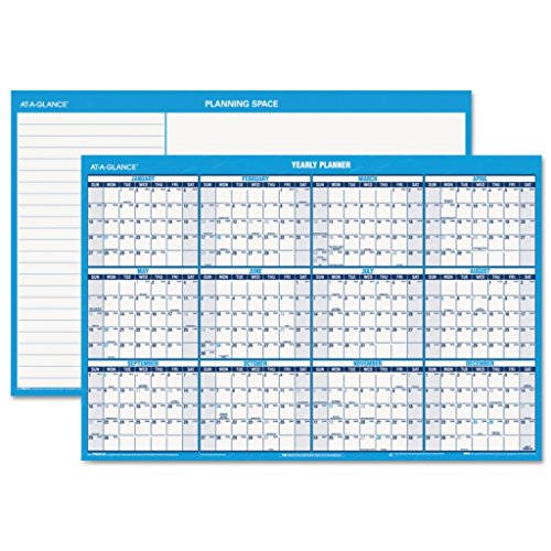 AAGPM30028-48 x 32 - at-A-Glance Reversible/Erasable Dated Yearly Wall Planner in Horizontal Quarterly Format - Each