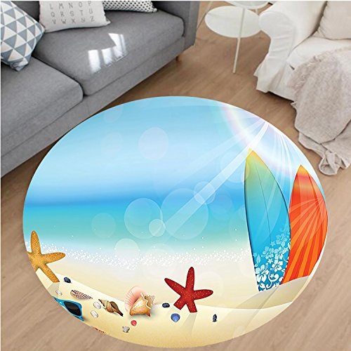 Nalahome Modern Flannel Microfiber Non-Slip Machine Washable Round Area Rug-day Theme Sunglasses On The Sand Beach Summer Surfboard Daytime Sunny Starfish Seashells area rugs Home Decor-Round 79""