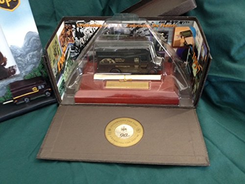(RARE! 1997 UPS DELIVERY WORLDWIDE SERVICE 90th Anniversary Package Car P-600 BIG BROWN VAN Delivery Truck DESKTOP DISPLAY Promo in 1:64 Scale Diecast Metal)