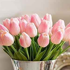 Montout 12PCS/Set PU Stunning Holland Tulip Flower Real Touch Artificial Silk Flowers Arrangement Bouquet Home Room Office Wedding Party Decor (Pink) 5