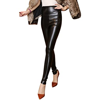 2532105982b534 Zhuhaitf High Waist Faux Leather Trousers Velvet Ladies Casual Pants Warm  Winter Leggings for Women: Amazon.co.uk: Clothing