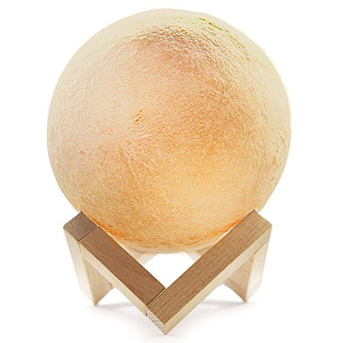 Beta Becca Rechargeable Dimmable Moon Lamp - 3D LED lunar nightlight with wooden stand - 2 shades w/dimmable touch control and USB charger - Kid's gift, room decor night light by Beta Becca