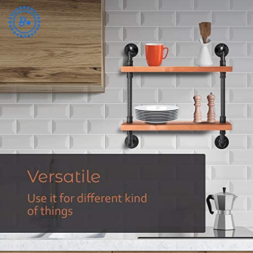 BDOT Industrial Pipe Shelves with Wood 2-Tier Industrial Pipe Excellent Organizer Premium Quality Multiple Shelves Heavy Duty Clutter Buster Unique Wood kitchen Shelf Bathroom Shelf