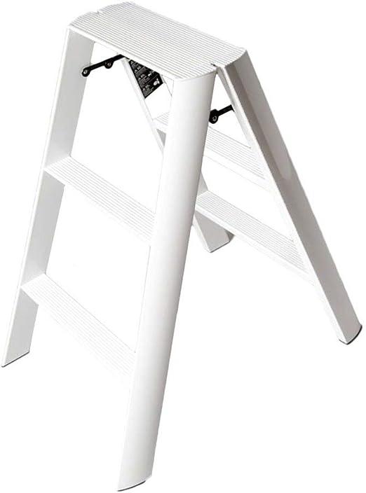 Chair Taburete Alto de Bar Escalera Plegable de 3 escalones escaleras de Aluminio, Silla de Desayuno