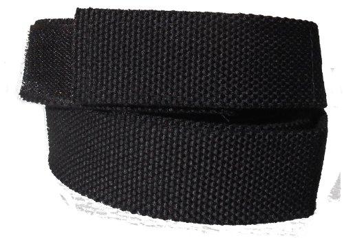Stoffgürtel Klett Koppel Gürtel mit Klettverschluss, schwarz 140 cm