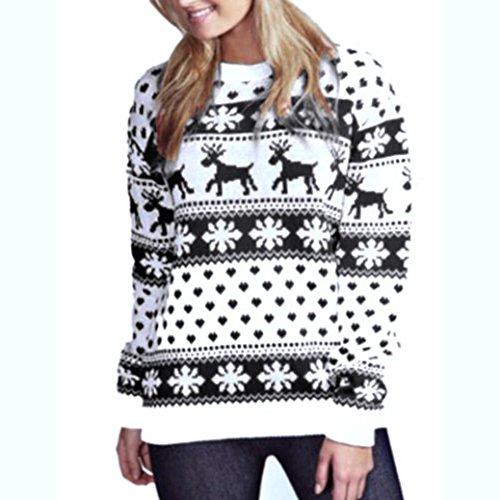 Donna T Natale Pullover Shirt Felpa Floreale Autunno Camicette Nero Casual Collo Stampa Elegante Tops Lunghe ABCone O Natale Maniche Camicie zvwdnqWdYB