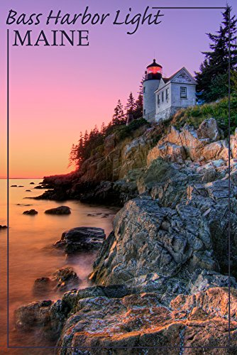 Maine - Bass Harbor Light (16x24 SIGNED Print Master Giclee Print w/Certificate of Authenticity - Wall Decor Travel Poster)