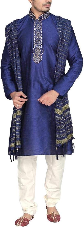 Krishna Sarees MKP9007 Bleu et Ivoire Mens Kurta Pyjama Indian Suit Bollywood Sherwani
