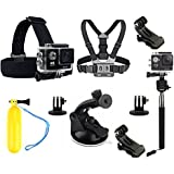 VVHOOY Sports Action Camera Accessory Bundle Kits Chest Harness Mount / Head Mount / Suction Cup Mount / Selfie Stick / Floating Hand Grip