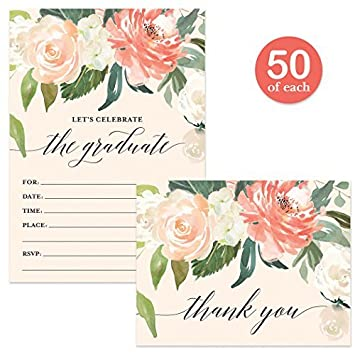 amazon graduation party invitations thank you cards matching set