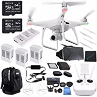DJI Phantom 4 Quadcopter + Polar Pro Drone Trekker Backpack + Sony 32GB microSDHC Card + Sony 64GB microSDXC Card + Card Reader + Cloth + DJI Battery Charging Hub + DJI Car Charger Bundle
