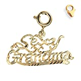 14K Yellow Gold 16mm Sexy Grandma Charm w/ Lobster Clasp