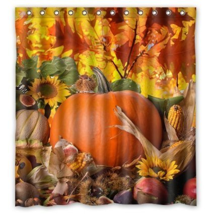 FMSHPON Autumn Leaves Happy Thanksgiving Day Pumpkin Sunflowers Bathroon Waterproof  Shower Curtain Size 66''(w) x 72''(h)  Inches by FMSHPON