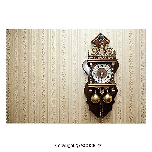 SCOCICI Set of 6 Heat Resistant Non-Slip Table Mats Placemats an Antique Wood Carving Clock with Roman Numerals Hanging on The Wall Design for Dining Kitchen Table Decor -
