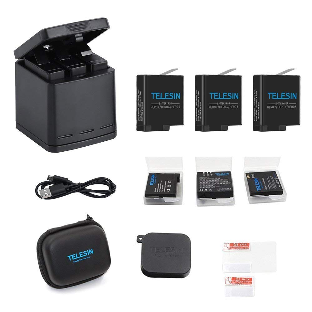 TELESIN - Caja de Carga Triple para GoPro Hero 2018, Hero 5, HERO6, HERO7, Color Negro 10 in 1 Kit