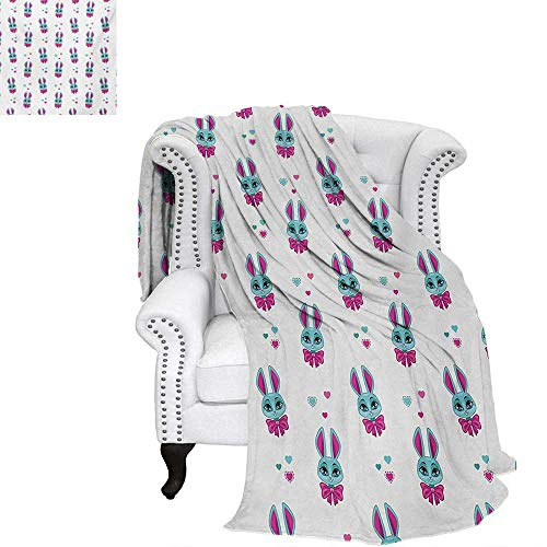 """warmfamily Teen Girls Summer Quilt Comforter Pattern of Cute Vivid Bunny Heads with Bowtie Funny Lovely Artwork Digital Printing Blanket 90""""x70"""" Fuchsia and Turquoise"""