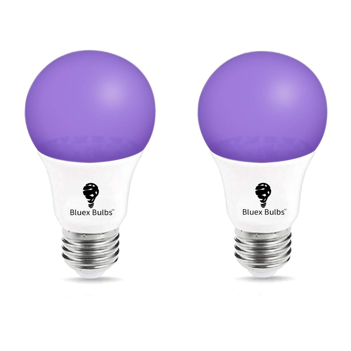 UV LED Black Light Bulb, 7W A19 E26 UV Blacklight Bulb UVA Level 385-400nm, LED Ultra Violet LED, Body Paint, Glow In The Dark Party LED Light Bulb Neon Glow Fluorescent Poster by Bluex Bulbs (2 Pack)