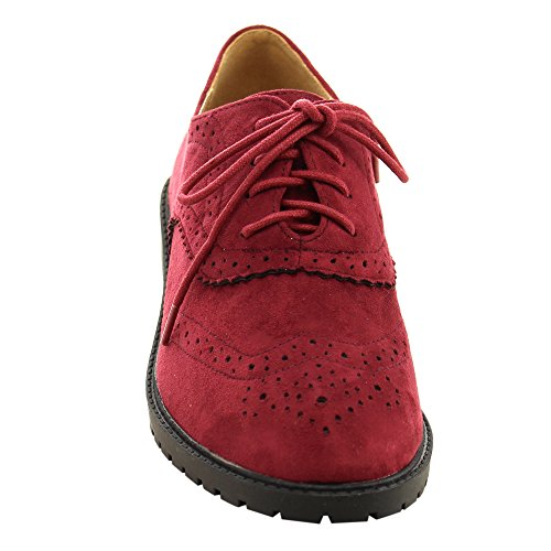 FOREVER GD61 Womens Lace Up Low Chunky Heel Casual Oxford Shoes, Color:BURGUNDY, Size:6