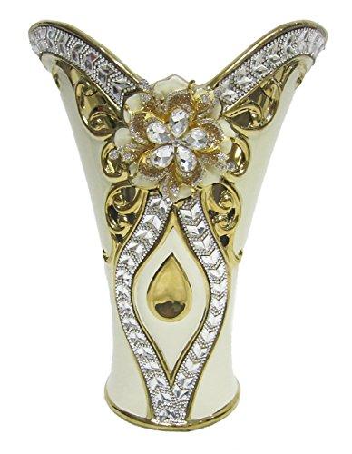 D'Lusso Designs YX225 Gold Color Bling Design 12 Inch Vase (Floral Ewer)