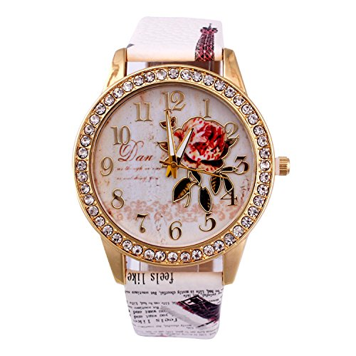 Womens Flower Watches,COOKI Unique Analog Fashion Clearance Lady Watches Female watches on Sale Casual Wrist Watches for Women,Round Dial Case Comfortable PU Leather Watch-H42 (White)