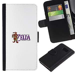 KLONGSHOP // Tirón de la caja Cartera de cuero con ranuras para tarjetas - Máscara de Majora Zelda - Samsung Galaxy S6 //