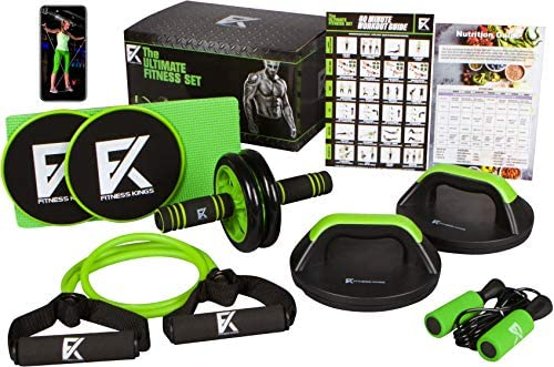 The Ultimate Fitness Set – 5 in 1 Ab Roller Wheel, Rotating Push up Bars, Core Sliders, Resistance Band, Jump Rope Home Gym Set w Workout Program