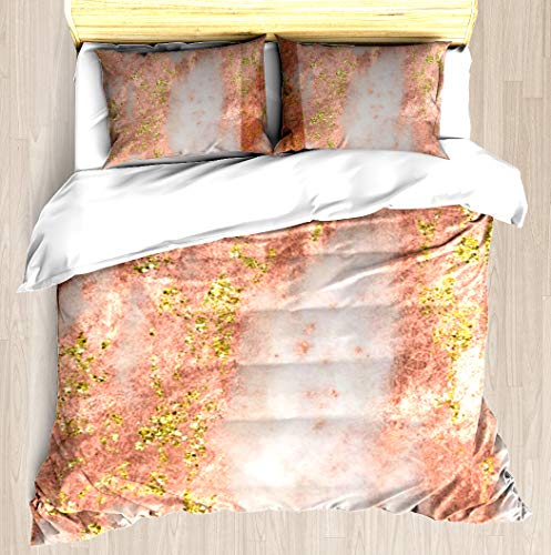 KANGSEA Rose Gold Marble with Yellow Gold Glitter Duvet Cover Set Unique Printed Exclusive Designed Pattern Comforter Bedding Cover Pillow Shams 3 Piece Bed Duvet Cover Queen/Full (Gold Agate White Rose)
