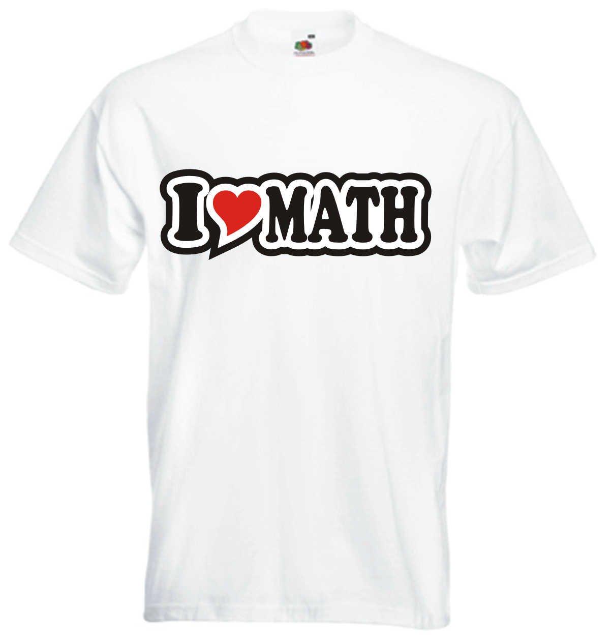 I Love Heart T-Shirt Men I LOVE MATH Black Dragon