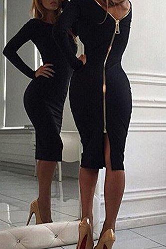 Bodycon Nu Black De Robe Avec Longues Sexy Femme Tricots Manches Mini Fermeture Dos wCF6qHqE