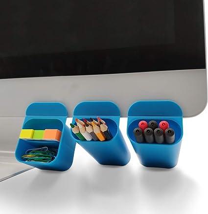 Mini Creative DIY lápiz soporte para lápices de escritorio accesorios organizadores para oficina escritorio bolsas de almacenamiento bajo el monitor del ordenador & pantalla 3 Pack (azul): Amazon.es: Oficina y papelería