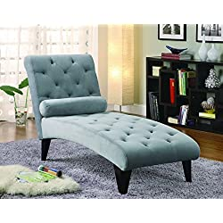 Coaster Transitional Grey Velour Tufted Living Room Chaise