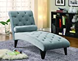 Cheap Coaster Transitional Grey Velour Tufted Living Room Chaise