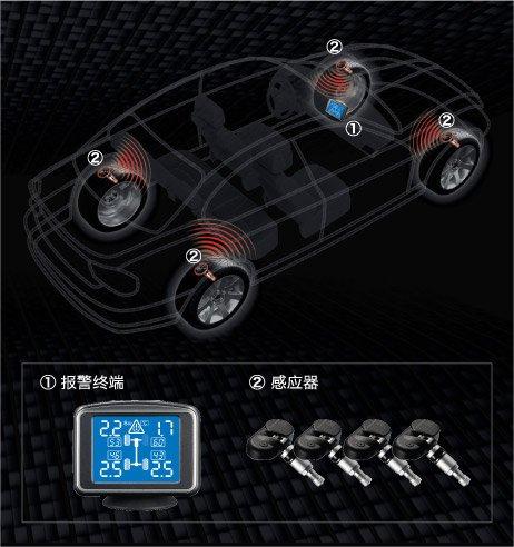 REDBAT Tyre Pressure Monitor T109 TPMS Cars & Caravans (4 sensors):