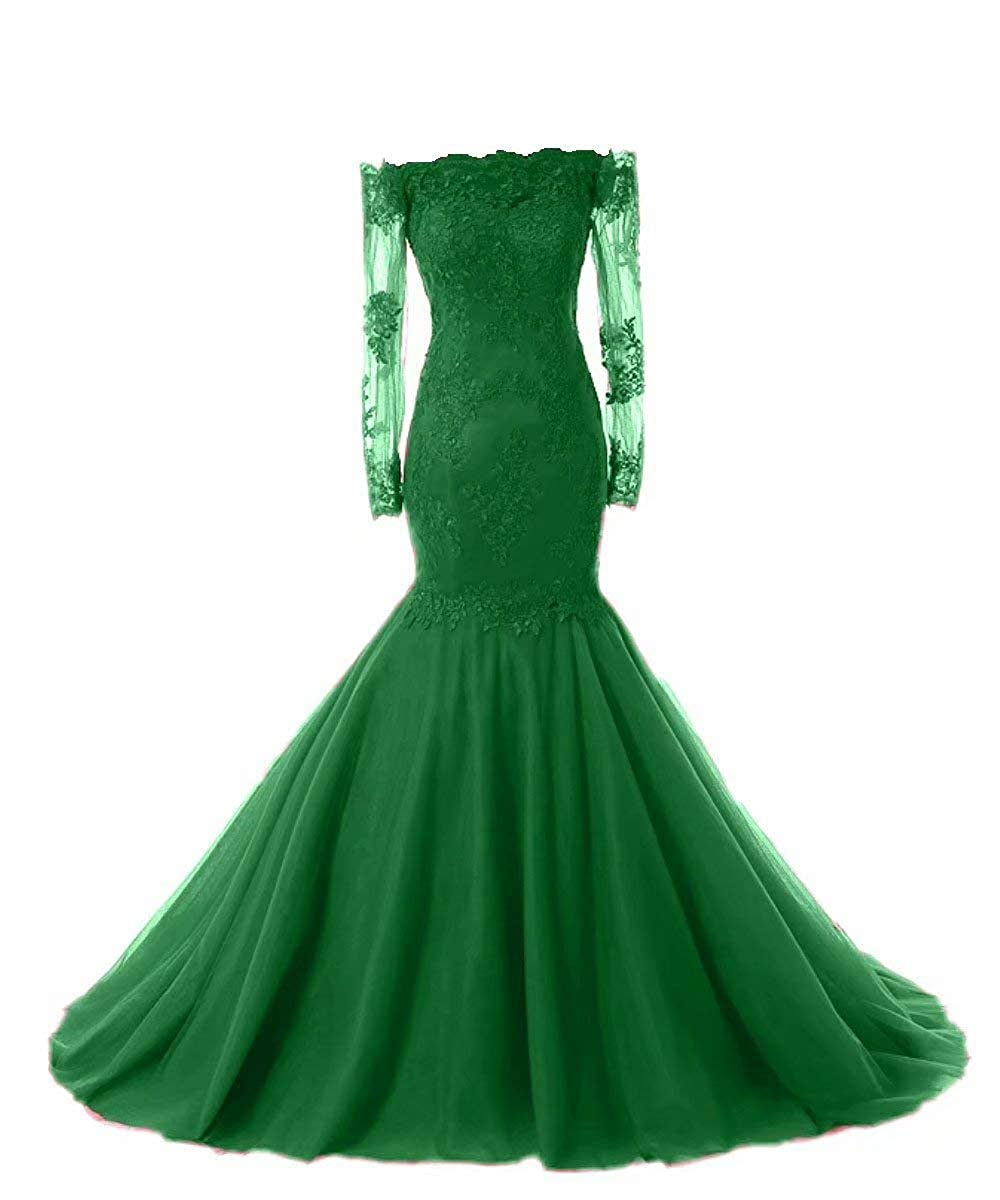 Emerald Green Promworld Women's Off The Shoulder Evening Dress with Sleeves Lace Mermaid Prom Formal Dresses