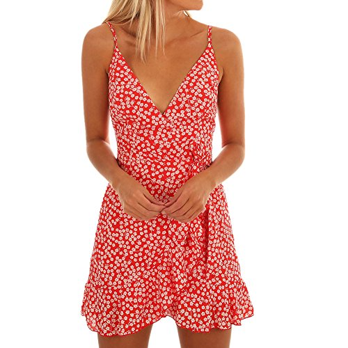 (Toimothcn Polka Dot Dress, Women Cap Sleeve V Neck Knee Length Dresses Casual Loose Beach)