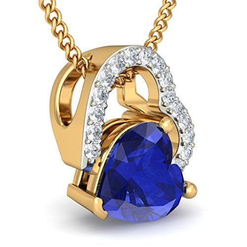 14 K Or jaune 0.08 CT TW Round-cut-diamond (IJ | SI) et tanzanite Pendentif